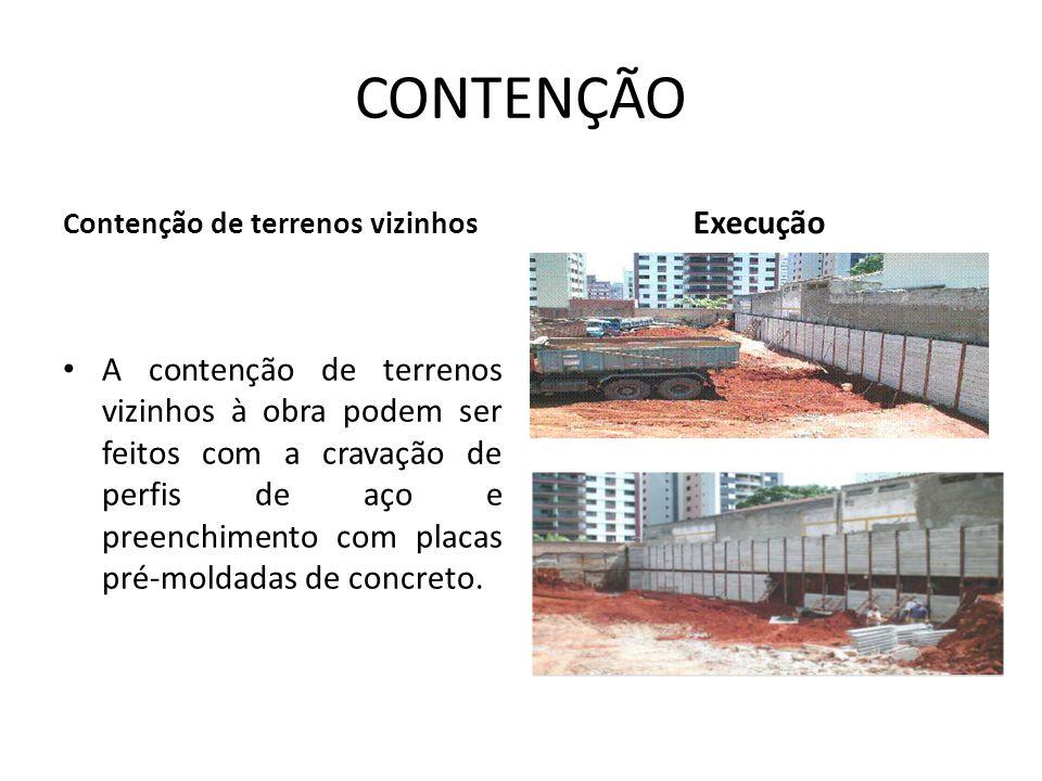 CONTENÇÃO Contenção de terrenos vizinhos A contenção de terrenos vizinhos à obra podem ser feitos com a cravação de perfis de aço e preenchimento com placas pré-moldadas de concreto.