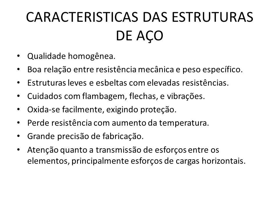 CARACTERISTICAS DAS ESTRUTURAS DE AÇO Qualidade homogênea.