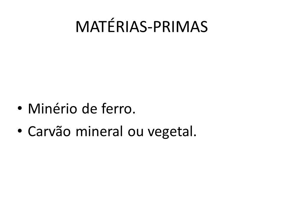 MATÉRIAS-PRIMAS Minério de ferro. Carvão mineral ou vegetal.