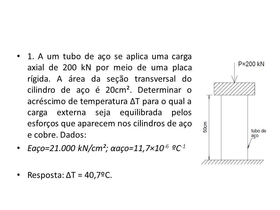 1. A um tubo de aço se aplica uma carga axial de 200 kN por meio de uma placa rígida. A área da seção transversal do cilindro de aço é 20cm². Determin