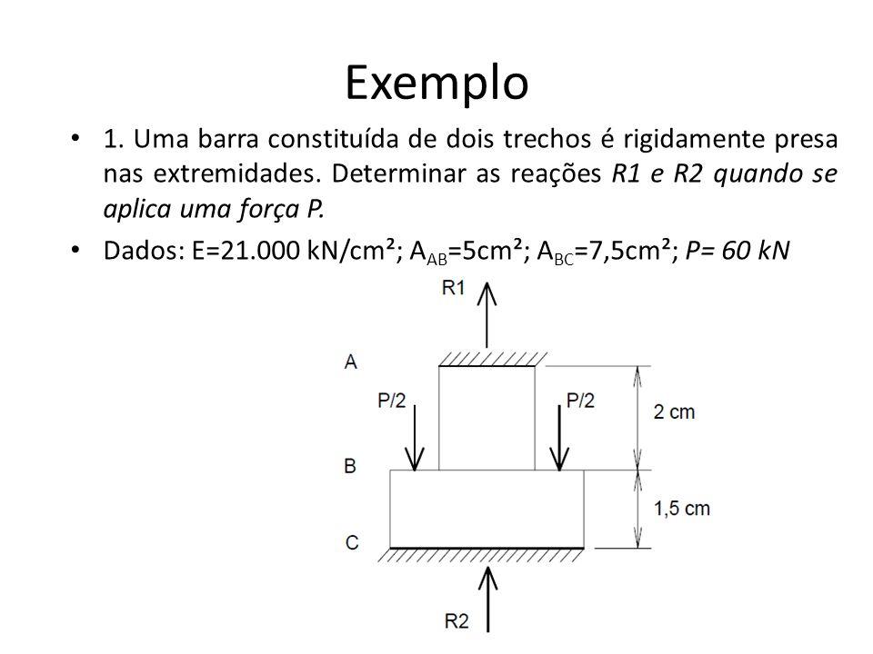Exemplo 1. Uma barra constituída de dois trechos é rigidamente presa nas extremidades. Determinar as reações R1 e R2 quando se aplica uma força P. Dad