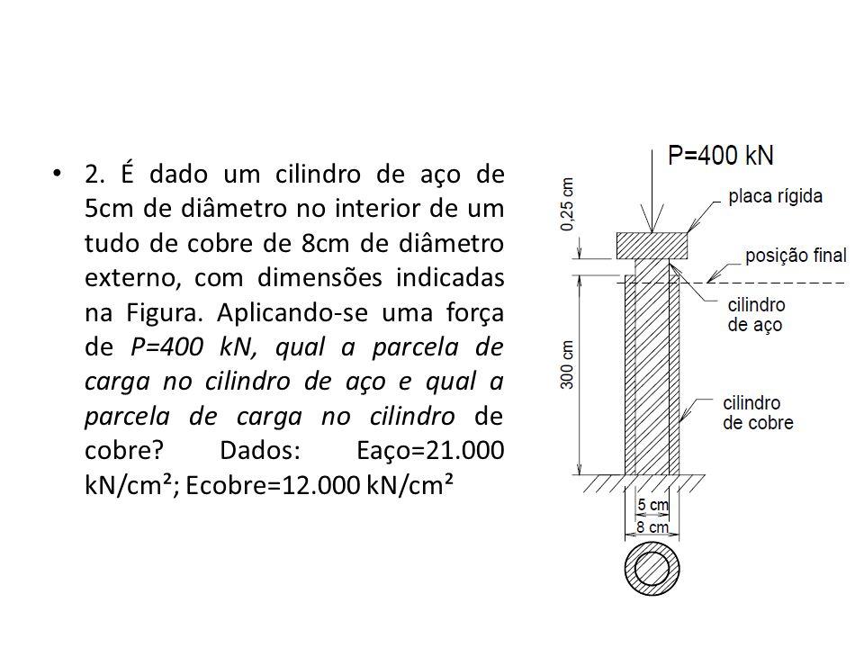 2. É dado um cilindro de aço de 5cm de diâmetro no interior de um tudo de cobre de 8cm de diâmetro externo, com dimensões indicadas na Figura. Aplican