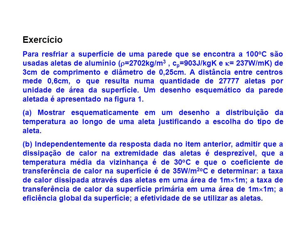 Exercício Para resfriar a superfície de uma parede que se encontra a 100 o C são usadas aletas de alumínio ( =2702kg/m 3, c p =903J/kgK e = 237W/mK) d