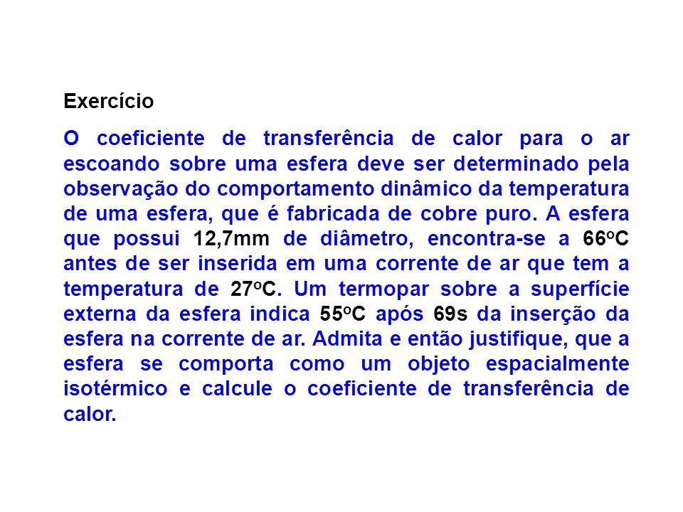 Exercício O coeficiente de transferência de calor para o ar escoando sobre uma esfera deve ser determinado pela observação do comportamento dinâmico d