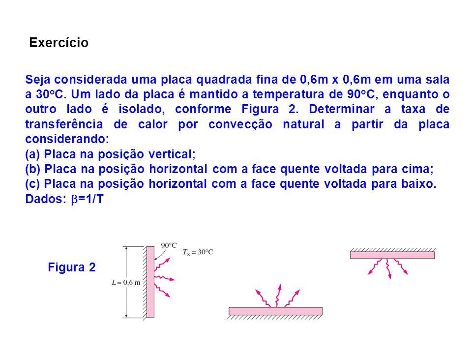 Seja considerada uma placa quadrada fina de 0,6m x 0,6m em uma sala a 30 o C. Um lado da placa é mantido a temperatura de 90 o C, enquanto o outro lad