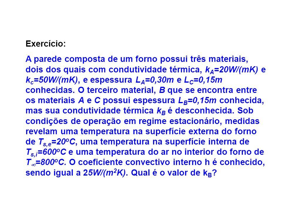 Exercício: A parede composta de um forno possui três materiais, dois dos quais com condutividade térmica, k A =20W/(mK) e k c =50W/(mK), e espessura L