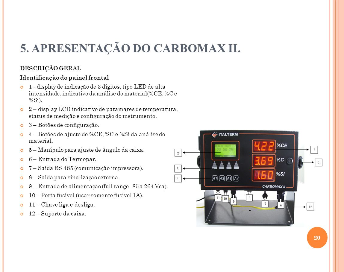 5. APRESENTAÇÃO DO CARBOMAX II. DESCRIÇÃO GERAL Identificação do painel frontal 1 - display de indicação de 3 dígitos, tipo LED de alta intensidade, i