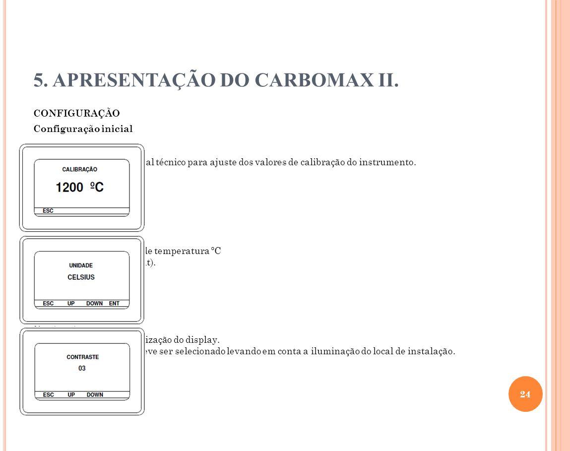 5. APRESENTAÇÃO DO CARBOMAX II. CONFIGURAÇÃO Configuração inicial Calibração Usada somente pelo pessoal técnico para ajuste dos valores de calibração