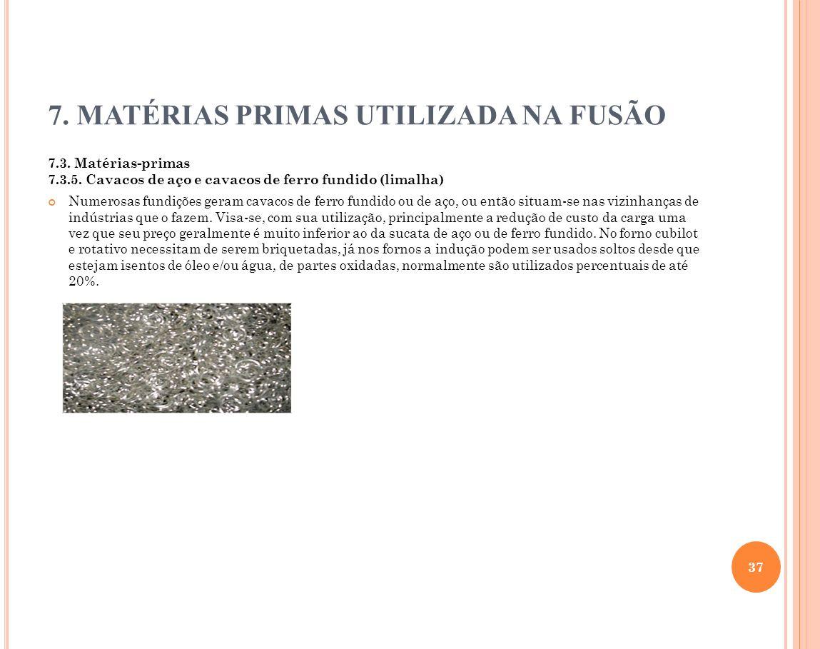 7. MATÉRIAS PRIMAS UTILIZADA NA FUSÃO 7.3. Matérias-primas 7.3.5. Cavacos de aço e cavacos de ferro fundido (limalha) Numerosas fundições geram cavaco
