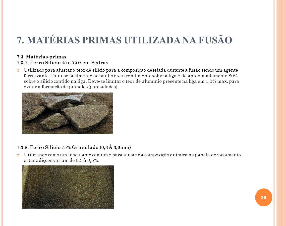 7. MATÉRIAS PRIMAS UTILIZADA NA FUSÃO 7.3. Matérias-primas 7.3.7. Ferro Silício 45 e 75% em Pedras Utilizado para ajustar o teor de silício para a com