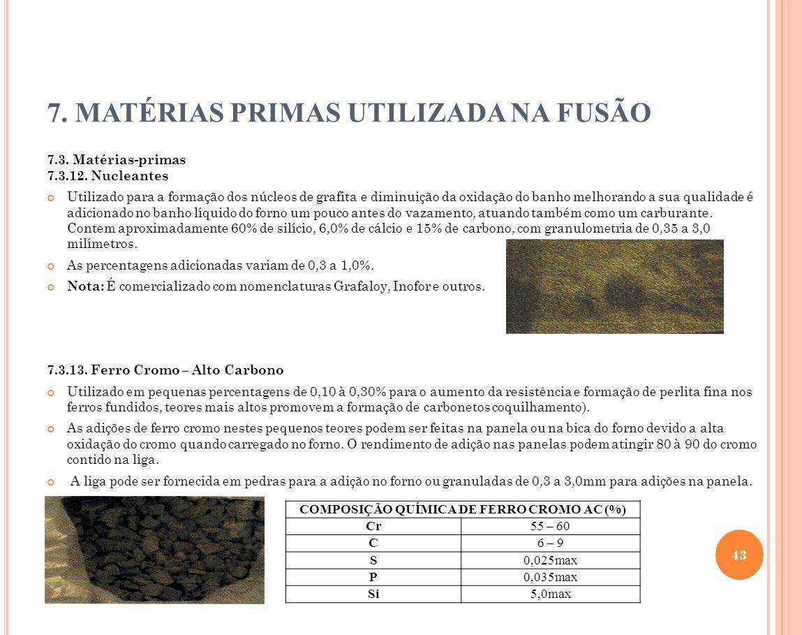 7. MATÉRIAS PRIMAS UTILIZADA NA FUSÃO 7.3. Matérias-primas 7.3.12. Nucleantes Utilizado para a formação dos núcleos de grafita e diminuição da oxidaçã