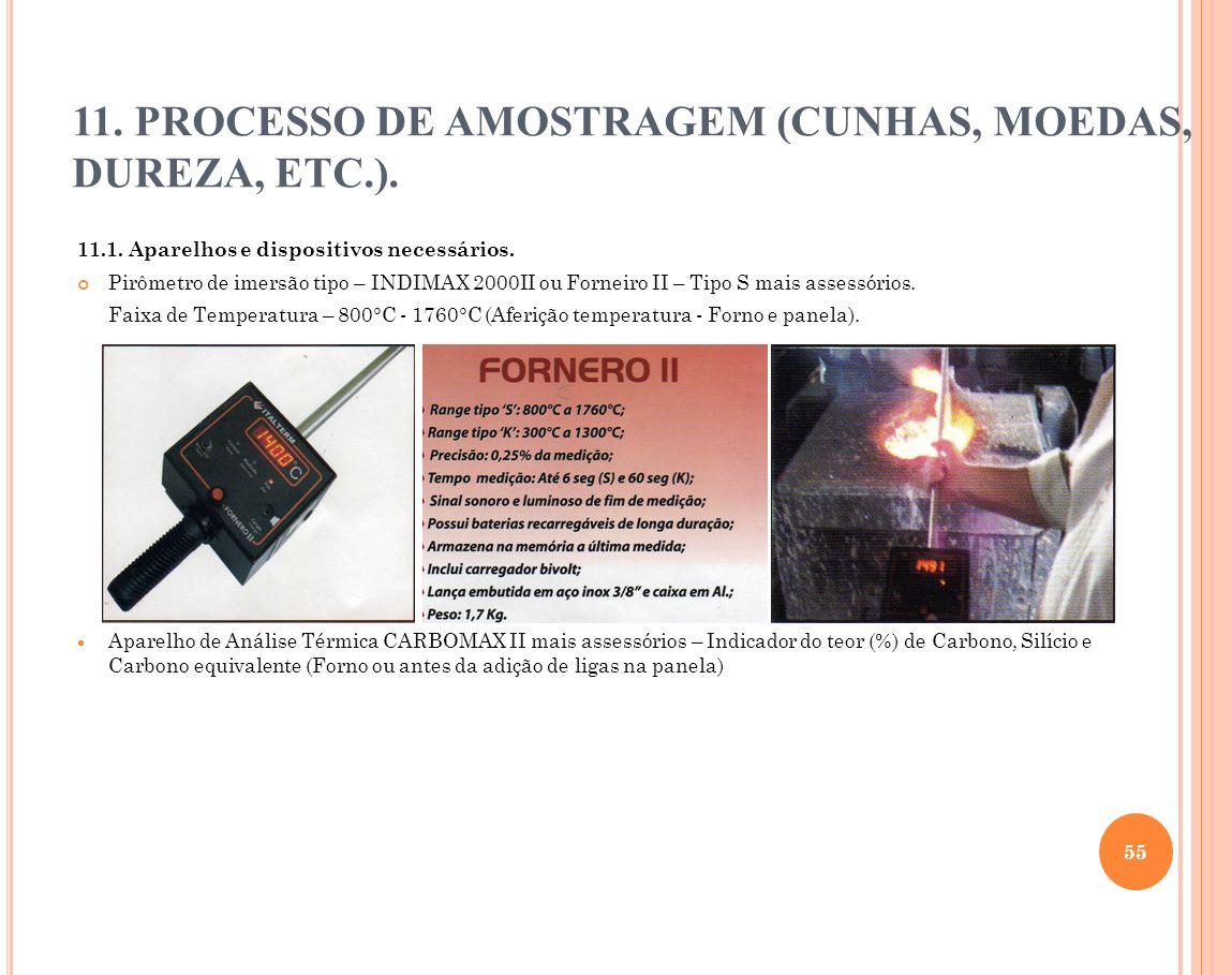 11.1. Aparelhos e dispositivos necessários. Pirômetro de imersão tipo – INDIMAX 2000II ou Forneiro II – Tipo S mais assessórios. Faixa de Temperatura