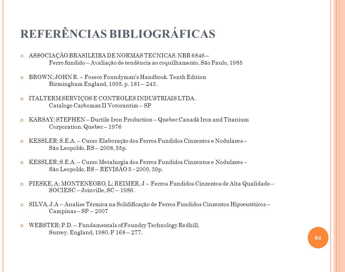REFERÊNCIAS BIBLIOGRÁFICAS ASSOCIAÇÃO BRASILEIRA DE NORMAS TECNICAS. NBR 6846 – Ferro fundido – Avaliação de tendência ao coquilhamento, São Paulo, 19