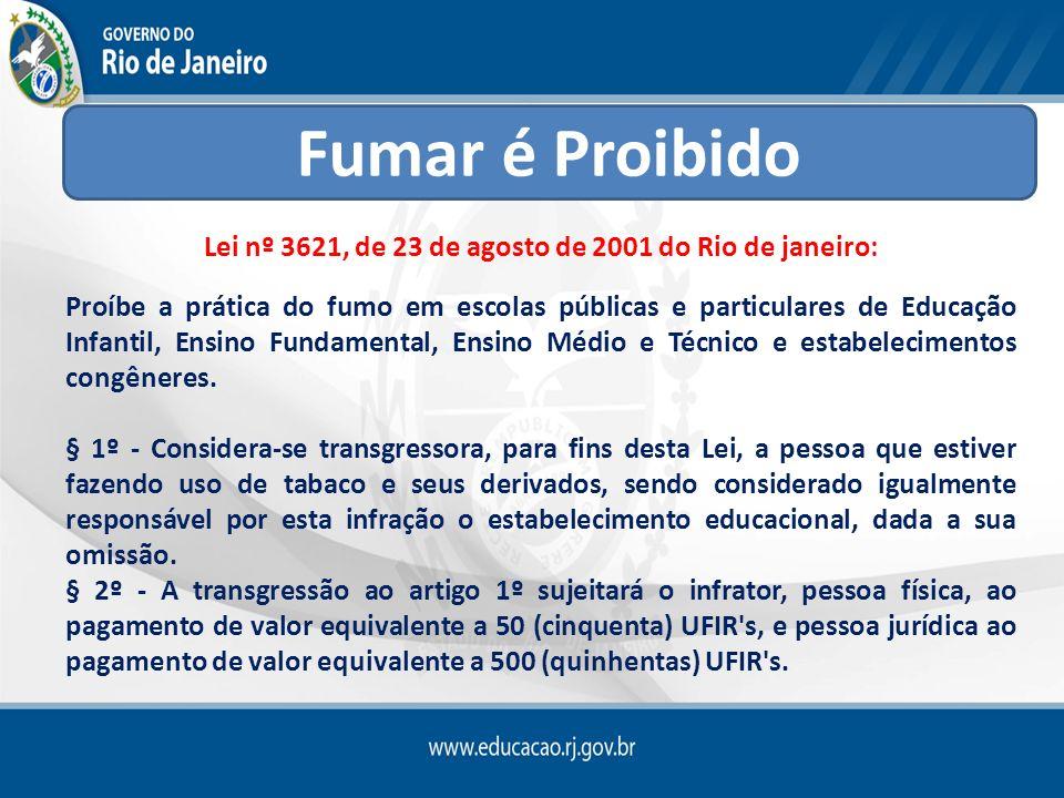 Lei nº 3621, de 23 de agosto de 2001 do Rio de janeiro: Proíbe a prática do fumo em escolas públicas e particulares de Educação Infantil, Ensino Funda
