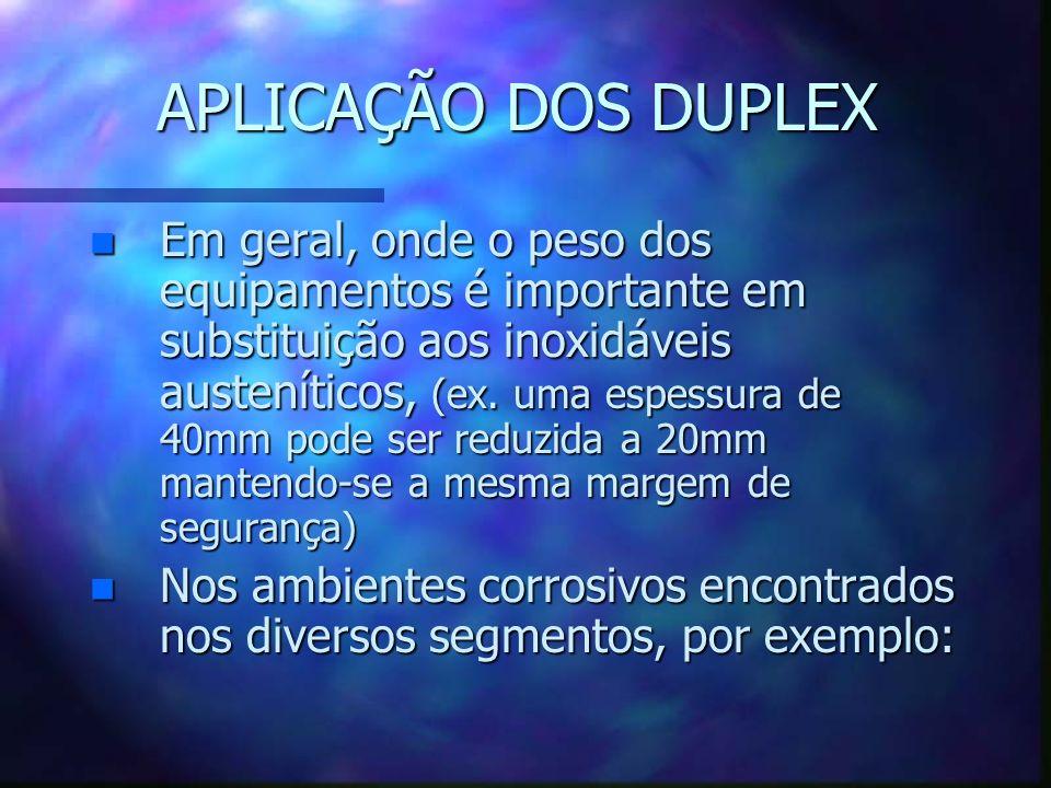 APLICAÇÃO DOS DUPLEX n Em geral, onde o peso dos equipamentos é importante em substituição aos inoxidáveis austeníticos, (ex. uma espessura de 40mm po