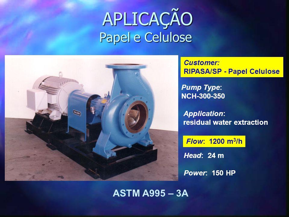 Pump Type: NCH-300-350 Application: residual water extraction APLICAÇÃO Papel e Celulose APLICAÇÃO Papel e Celulose Customer: RIPASA/SP - Papel Celulose Flow: 1200 m 3 /h Head: 24 m Power: 150 HP ASTM A995 – 3A