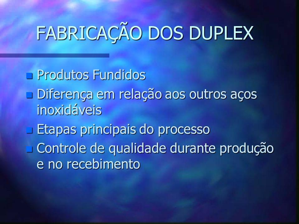 FABRICAÇÃO DOS DUPLEX n Produtos Fundidos n Diferença em relação aos outros aços inoxidáveis n Etapas principais do processo n Controle de qualidade durante produção e no recebimento