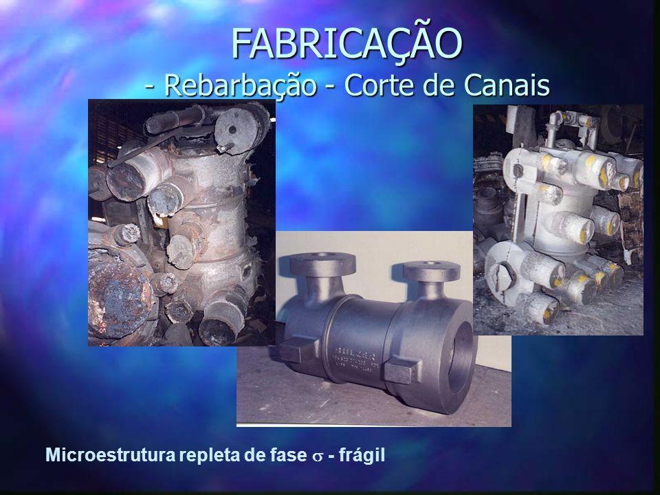 FABRICAÇÃO - Rebarbação - Corte de Canais Microestrutura repleta de fase - frágil