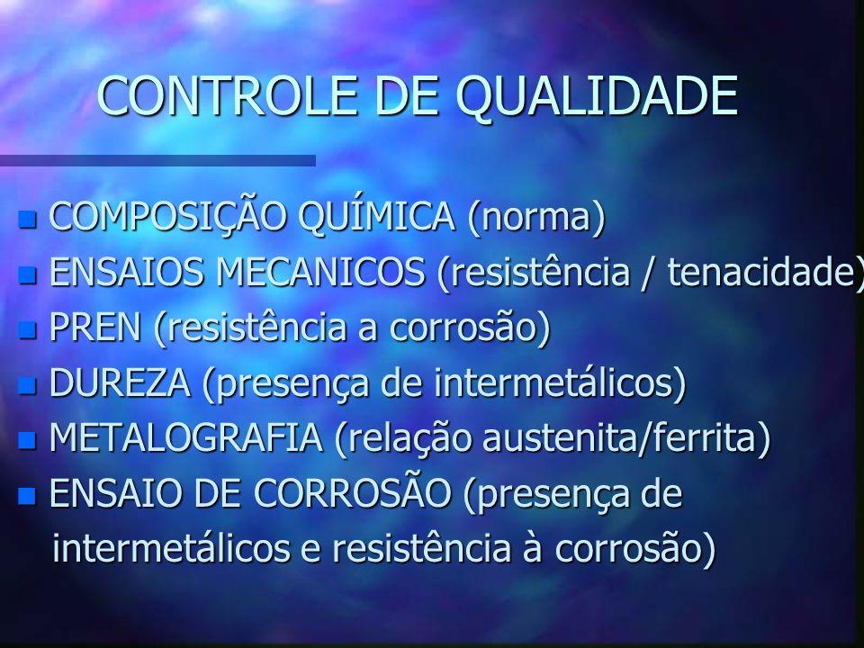 CONTROLE DE QUALIDADE n COMPOSIÇÃO QUÍMICA (norma) n ENSAIOS MECANICOS (resistência / tenacidade) n PREN (resistência a corrosão) n DUREZA (presença de intermetálicos) n METALOGRAFIA (relação austenita/ferrita) n ENSAIO DE CORROSÃO (presença de intermetálicos e resistência à corrosão) intermetálicos e resistência à corrosão)
