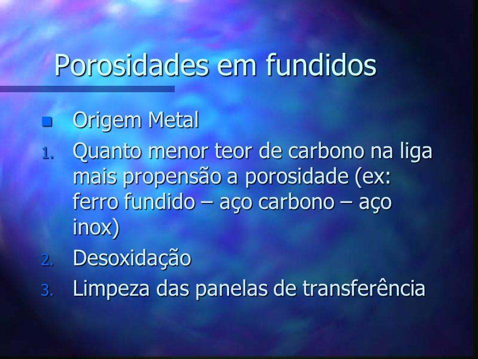 Porosidades em fundidos n Origem Metal 1. Quanto menor teor de carbono na liga mais propensão a porosidade (ex: ferro fundido – aço carbono – aço inox