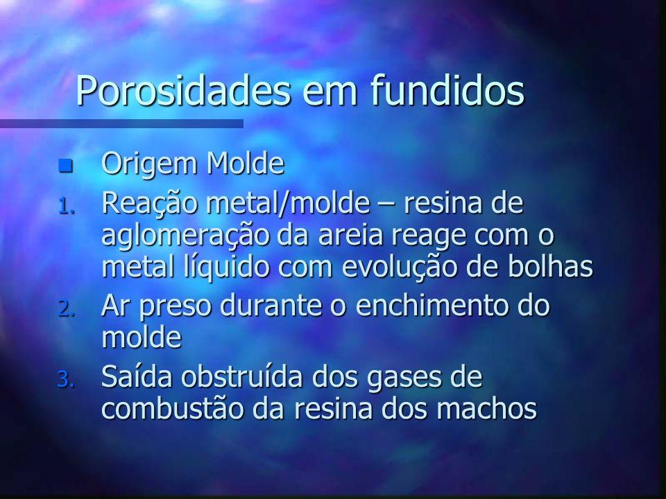 Porosidades em fundidos n Origem Molde 1. Reação metal/molde – resina de aglomeração da areia reage com o metal líquido com evolução de bolhas 2. Ar p