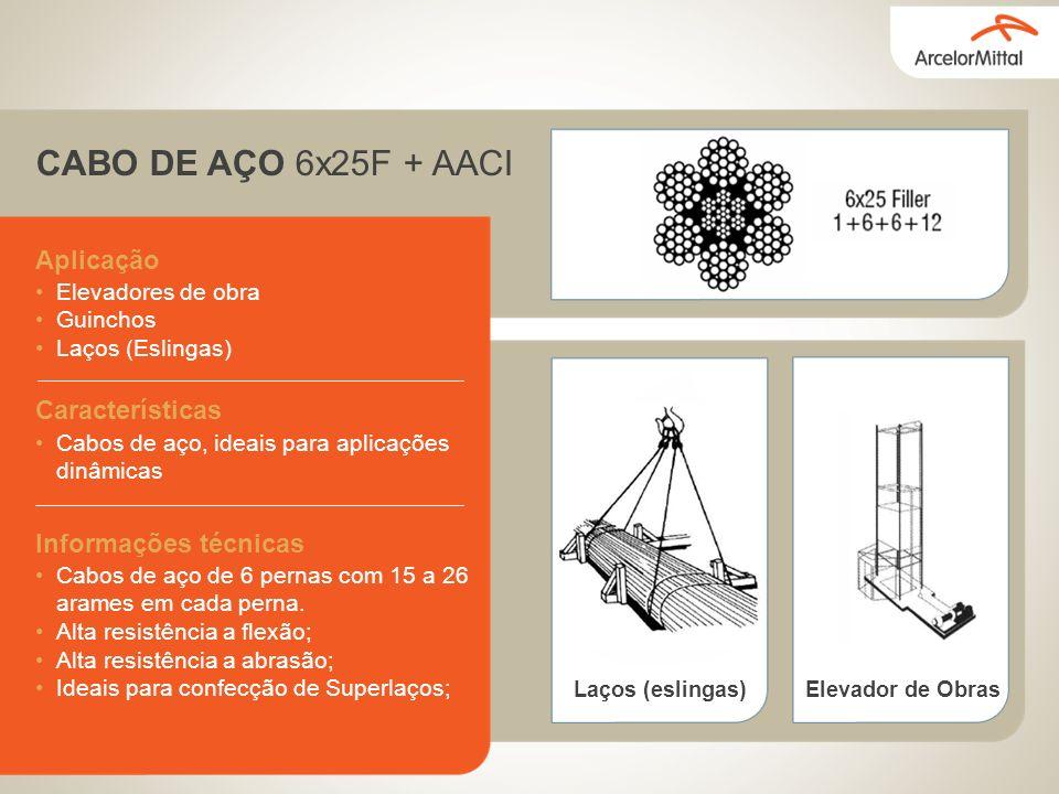 CABO DE AÇO 6x25F + AACI Aplicação Elevadores de obra Guinchos Laços (Eslingas) Características Cabos de aço, ideais para aplicações dinâmicas Informações técnicas Cabos de aço de 6 pernas com 15 a 26 arames em cada perna.