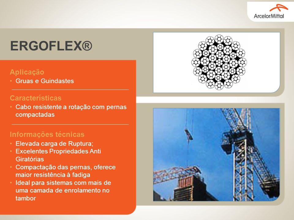 ERGOFLEX® Aplicação Gruas e Guindastes Características Cabo resistente a rotação com pernas compactadas Informações técnicas Elevada carga de Ruptura;