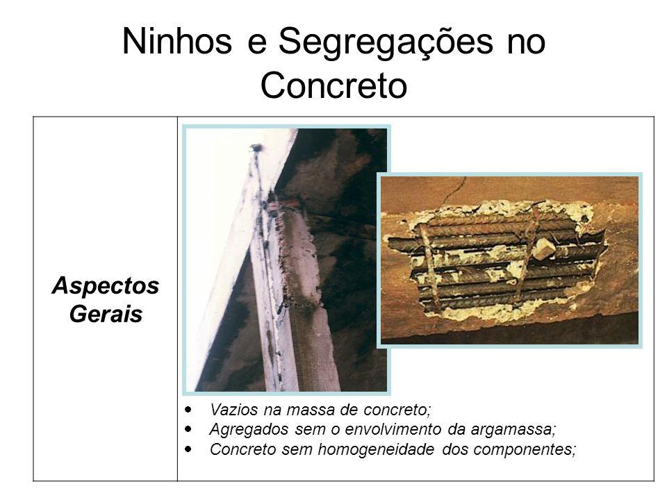 Ninhos e Segregações no Concreto Aspectos Gerais Vazios na massa de concreto; Agregados sem o envolvimento da argamassa; Concreto sem homogeneidade dos componentes;