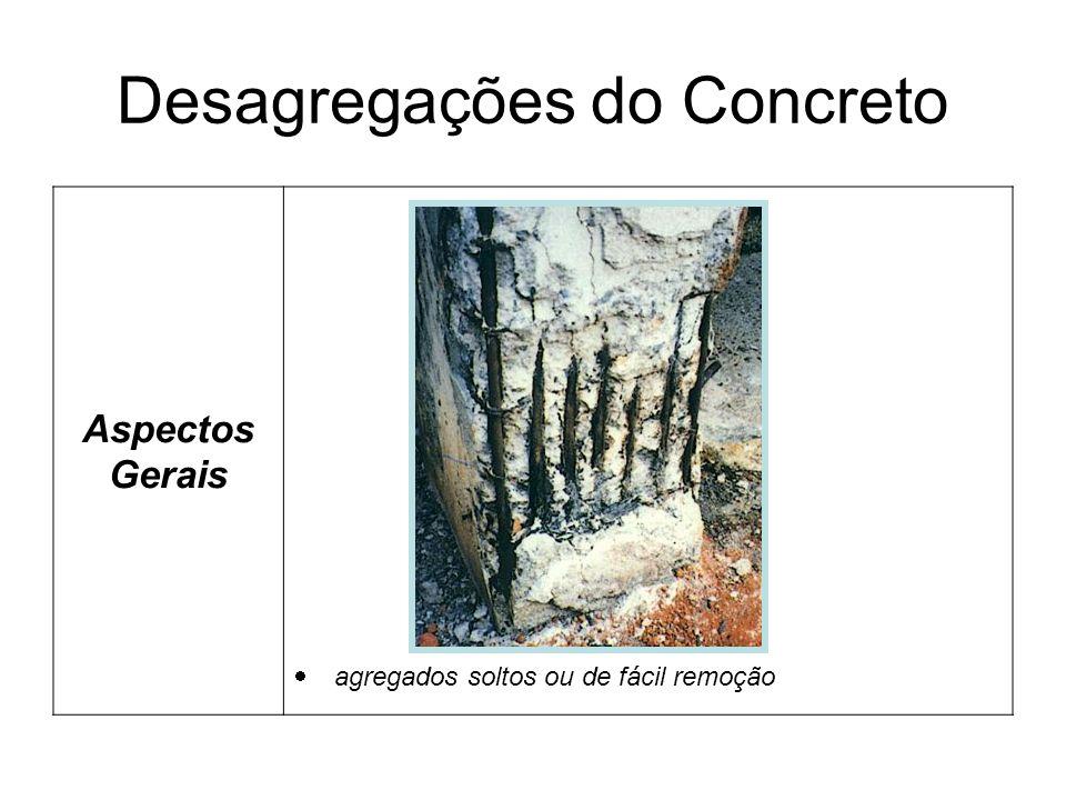 Desagregações do Concreto Aspectos Gerais agregados soltos ou de fácil remoção