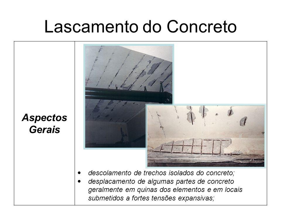Lascamento do Concreto Aspectos Gerais descolamento de trechos isolados do concreto; desplacamento de algumas partes de concreto geralmente em quinas dos elementos e em locais submetidos a fortes tensões expansivas;