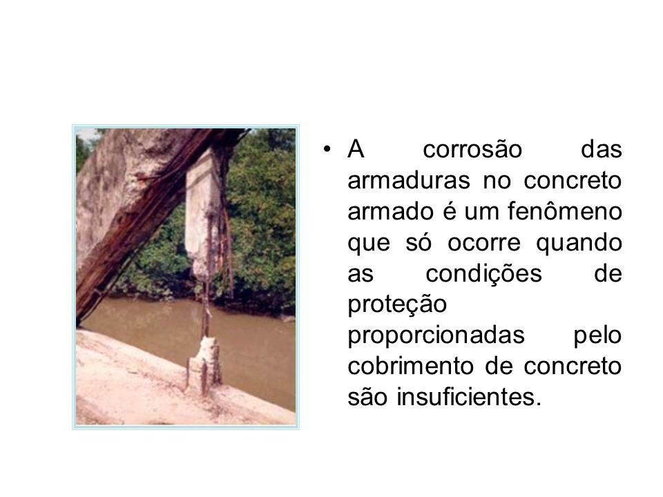 A corrosão das armaduras no concreto armado é um fenômeno que só ocorre quando as condições de proteção proporcionadas pelo cobrimento de concreto são