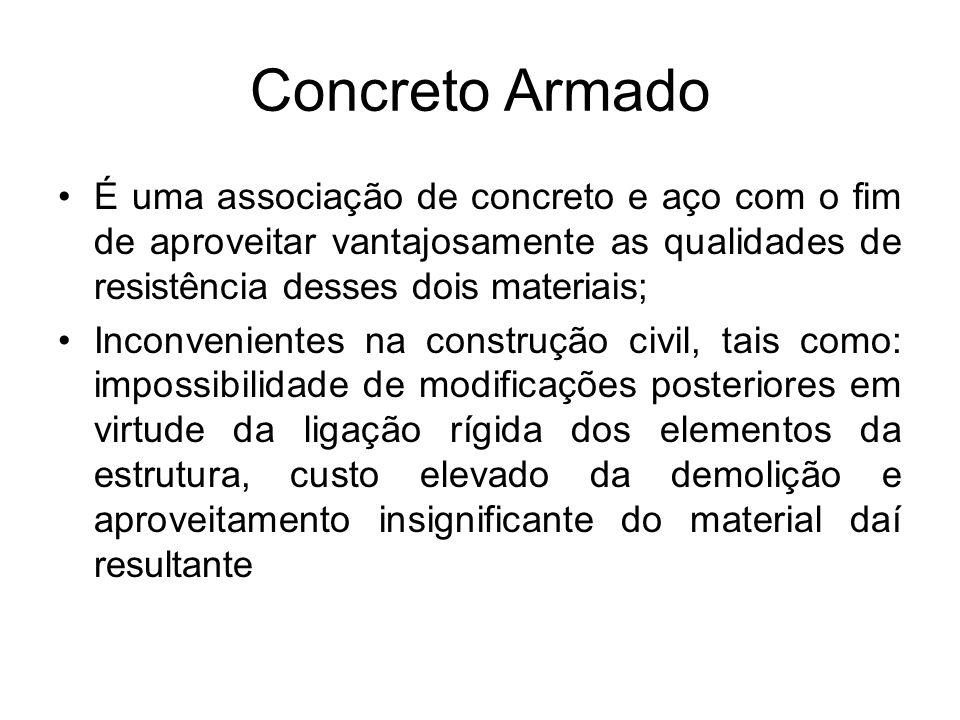 Concreto Armado É uma associação de concreto e aço com o fim de aproveitar vantajosamente as qualidades de resistência desses dois materiais; Inconven