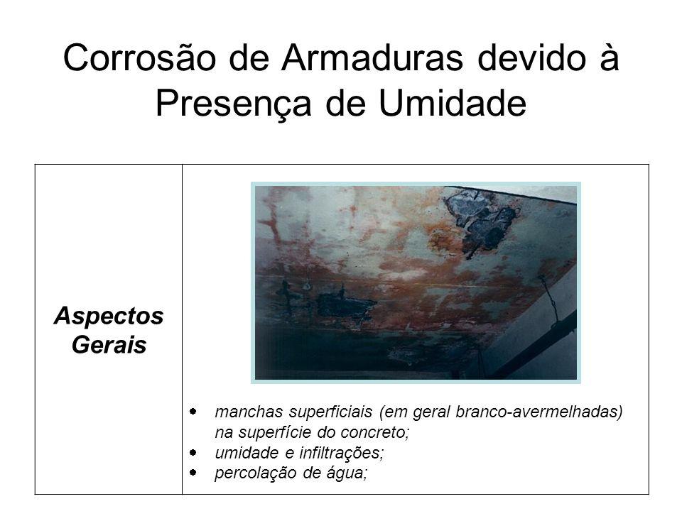 Corrosão de Armaduras devido à Presença de Umidade Aspectos Gerais manchas superficiais (em geral branco-avermelhadas) na superfície do concreto; umidade e infiltrações; percolação de água;
