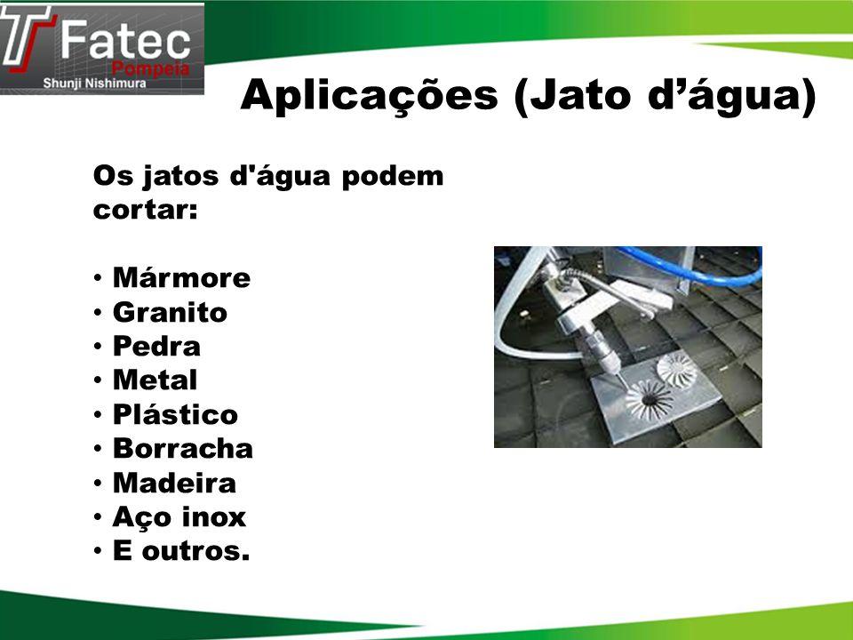 Os jatos d'água podem cortar: Mármore Granito Pedra Metal Plástico Borracha Madeira Aço inox E outros. Aplicações (Jato dágua)