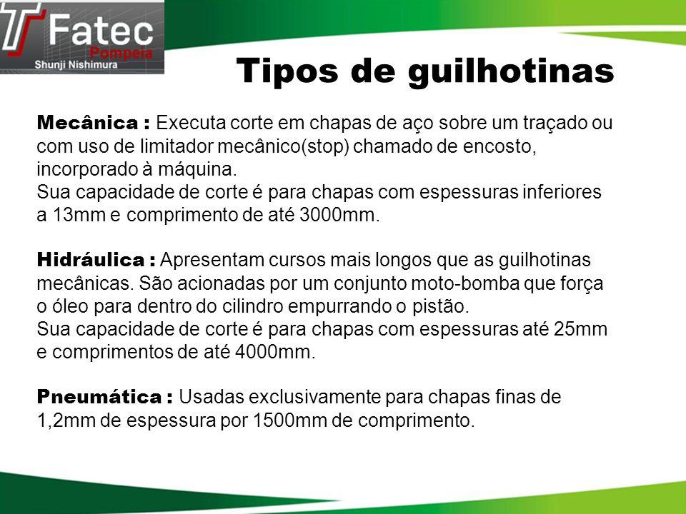 Tipos de guilhotinas Mecânica : Executa corte em chapas de aço sobre um traçado ou com uso de limitador mecânico(stop) chamado de encosto, incorporado