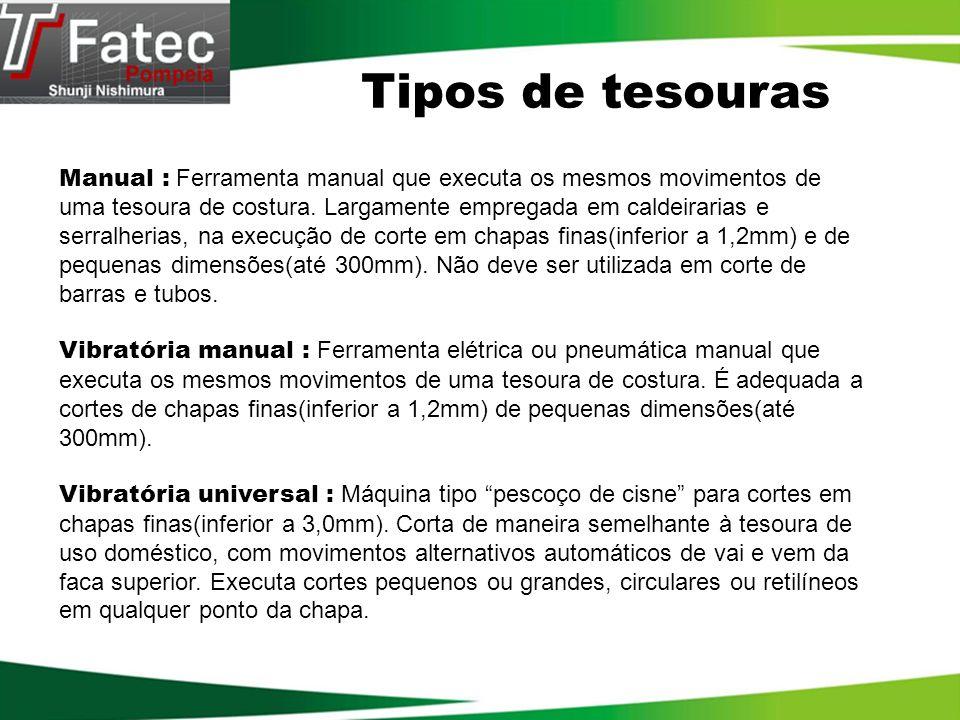 Tipos de tesouras Manual : Ferramenta manual que executa os mesmos movimentos de uma tesoura de costura. Largamente empregada em caldeirarias e serral