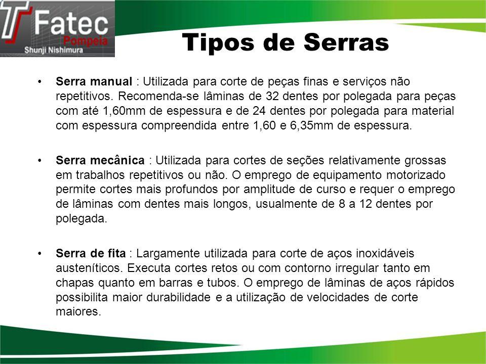 Tipos de Serras Serra manual : Utilizada para corte de peças finas e serviços não repetitivos. Recomenda-se lâminas de 32 dentes por polegada para peç
