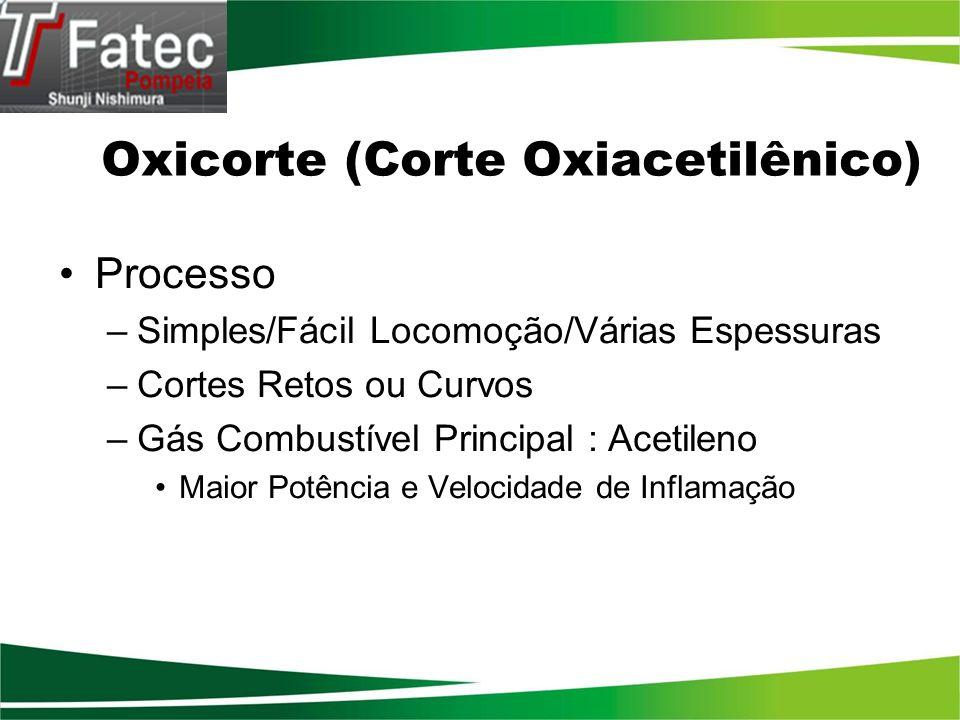 Oxicorte (Corte Oxiacetilênico) Processo –Simples/Fácil Locomoção/Várias Espessuras –Cortes Retos ou Curvos –Gás Combustível Principal : Acetileno Mai