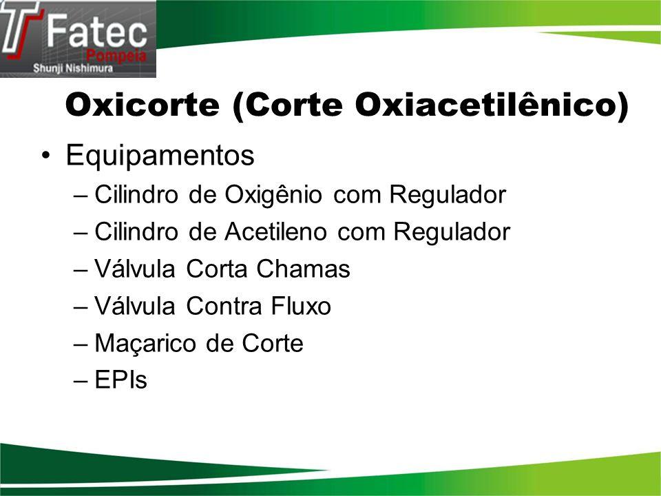 Oxicorte (Corte Oxiacetilênico) Equipamentos –Cilindro de Oxigênio com Regulador –Cilindro de Acetileno com Regulador –Válvula Corta Chamas –Válvula C