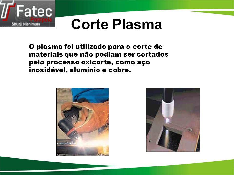 O plasma foi utilizado para o corte de materiais que não podiam ser cortados pelo processo oxicorte, como aço inoxidável, alumínio e cobre. Corte Plas