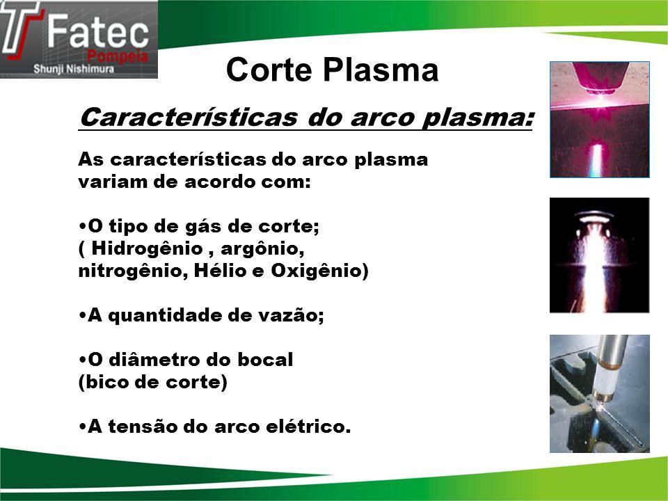 Características do arco plasma: As características do arco plasma variam de acordo com: O tipo de gás de corte; ( Hidrogênio, argônio, nitrogênio, Hél