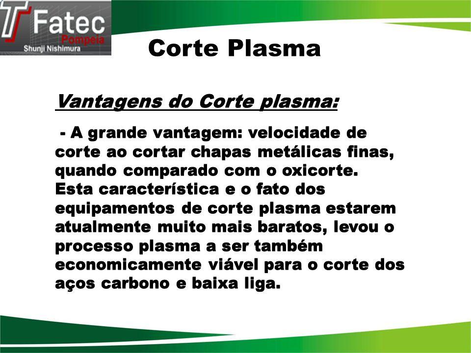 Corte Plasma Vantagens do Corte plasma: - A grande vantagem: velocidade de corte ao cortar chapas metálicas finas, quando comparado com o oxicorte. Es