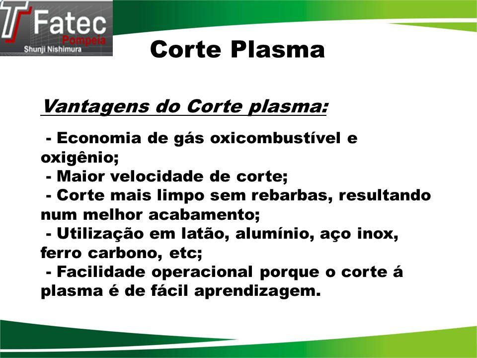 Corte Plasma Vantagens do Corte plasma: - Economia de gás oxicombustível e oxigênio; - Maior velocidade de corte; - Corte mais limpo sem rebarbas, res
