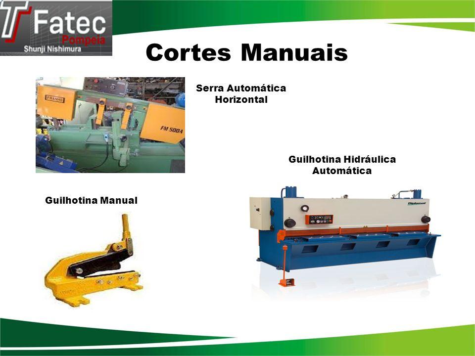 Tipos de guilhotinas Mecânica : Executa corte em chapas de aço sobre um traçado ou com uso de limitador mecânico(stop) chamado de encosto, incorporado à máquina.