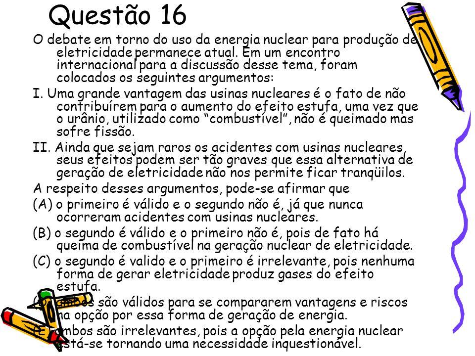 Questão 16 O debate em torno do uso da energia nuclear para produção de eletricidade permanece atual. Em um encontro internacional para a discussão de