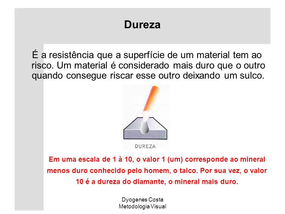 Dyogenes Costa Metodologia Visual Dureza É a resistência que a superfície de um material tem ao risco. Um material é considerado mais duro que o outro