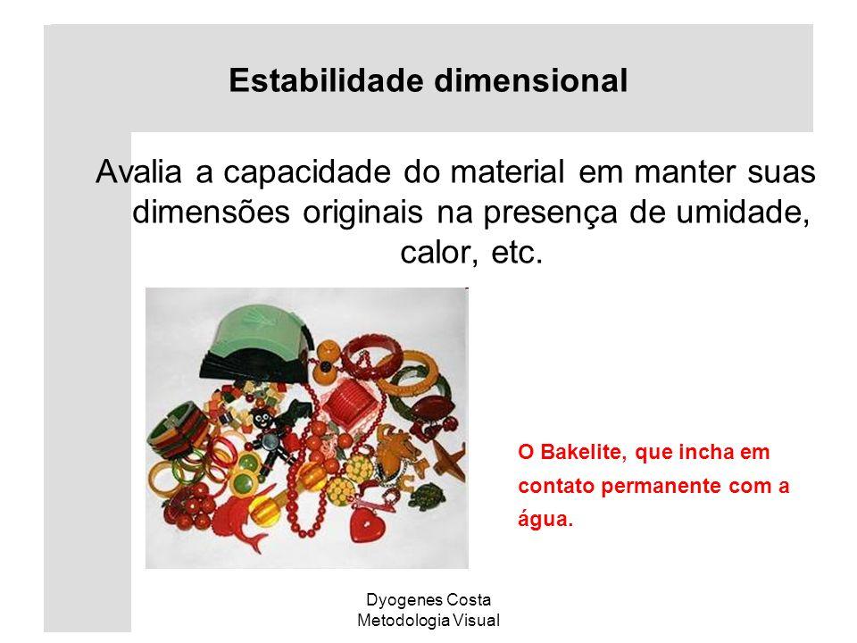 Dyogenes Costa Metodologia Visual Estabilidade dimensional Avalia a capacidade do material em manter suas dimensões originais na presença de umidade,