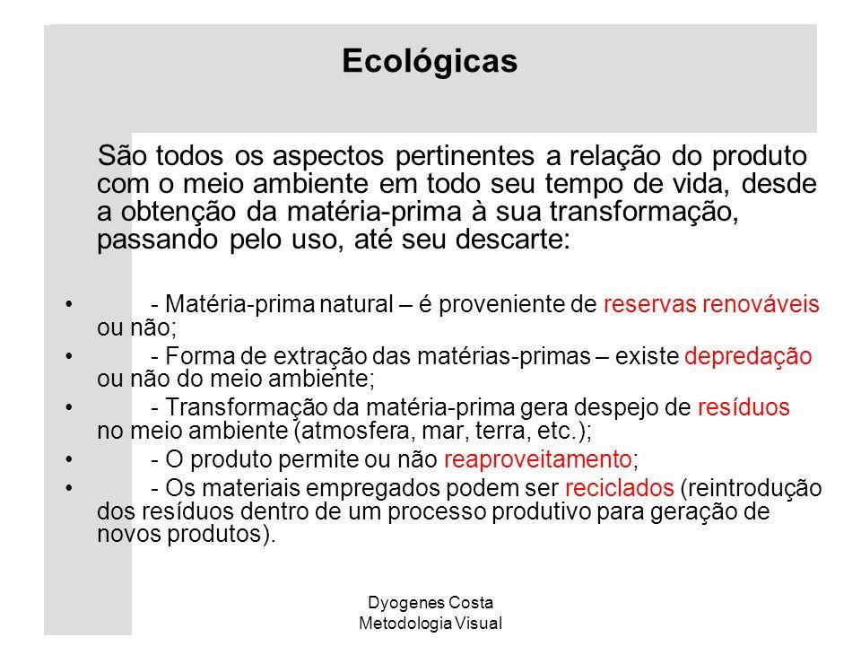 Dyogenes Costa Metodologia Visual Ecológicas São todos os aspectos pertinentes a relação do produto com o meio ambiente em todo seu tempo de vida, des