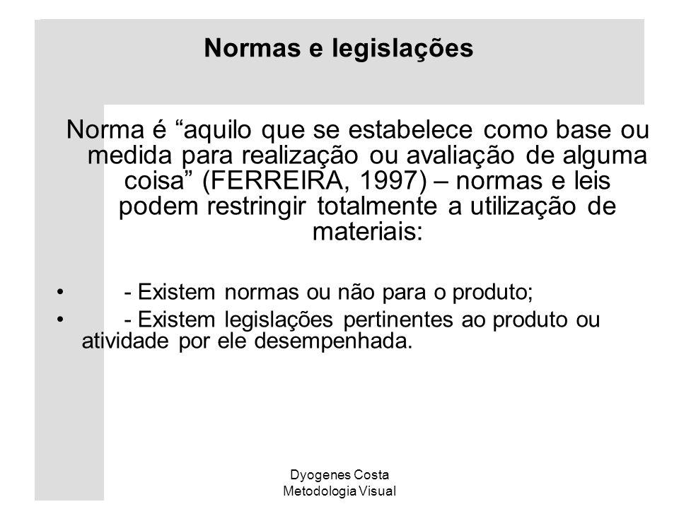 Dyogenes Costa Metodologia Visual Normas e legislações Norma é aquilo que se estabelece como base ou medida para realização ou avaliação de alguma coi