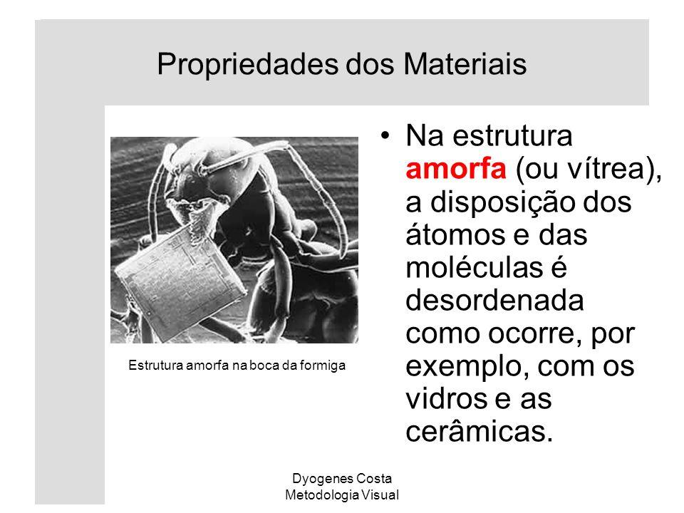 Dyogenes Costa Metodologia Visual Na estrutura amorfa (ou vítrea), a disposição dos átomos e das moléculas é desordenada como ocorre, por exemplo, com